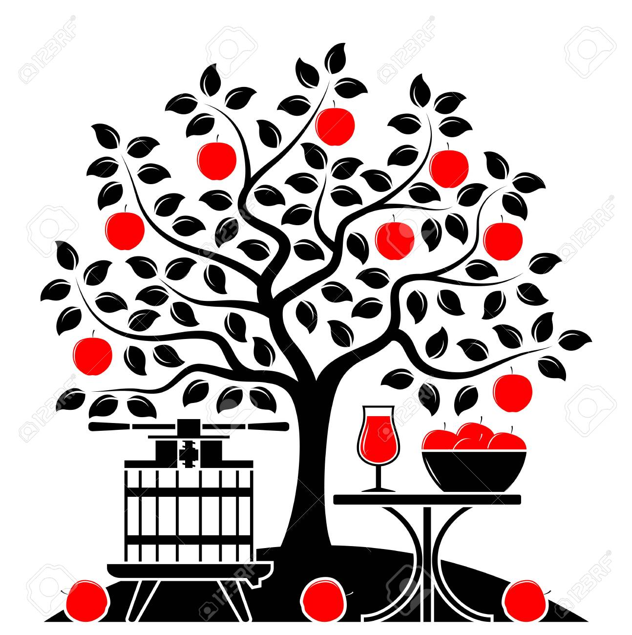 vector apple tree, fruit press and table with apple drink isolated on white background - 148019912