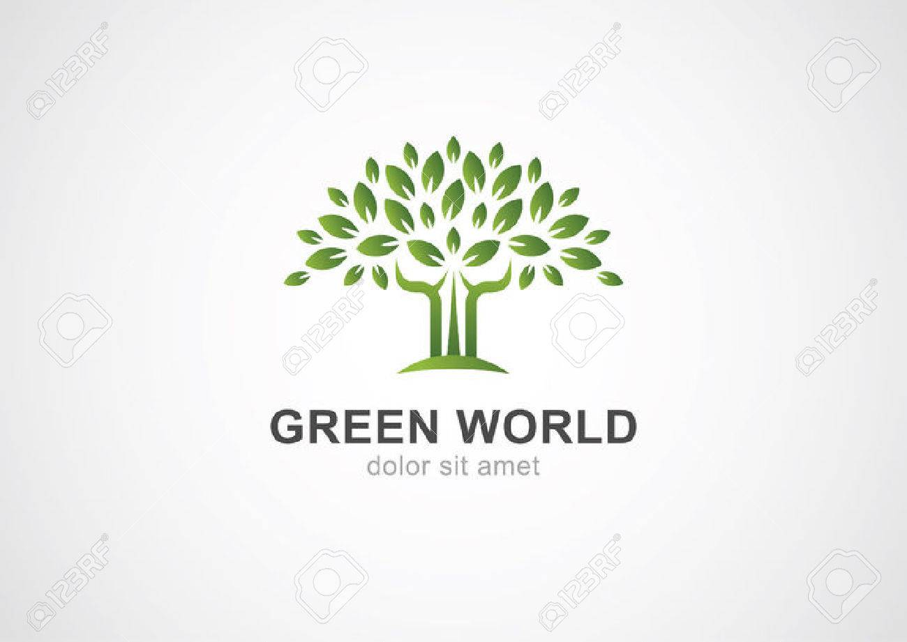 Arbre vert de cercle template vecteur de conception de logo. Jardin ou  écologie icône.