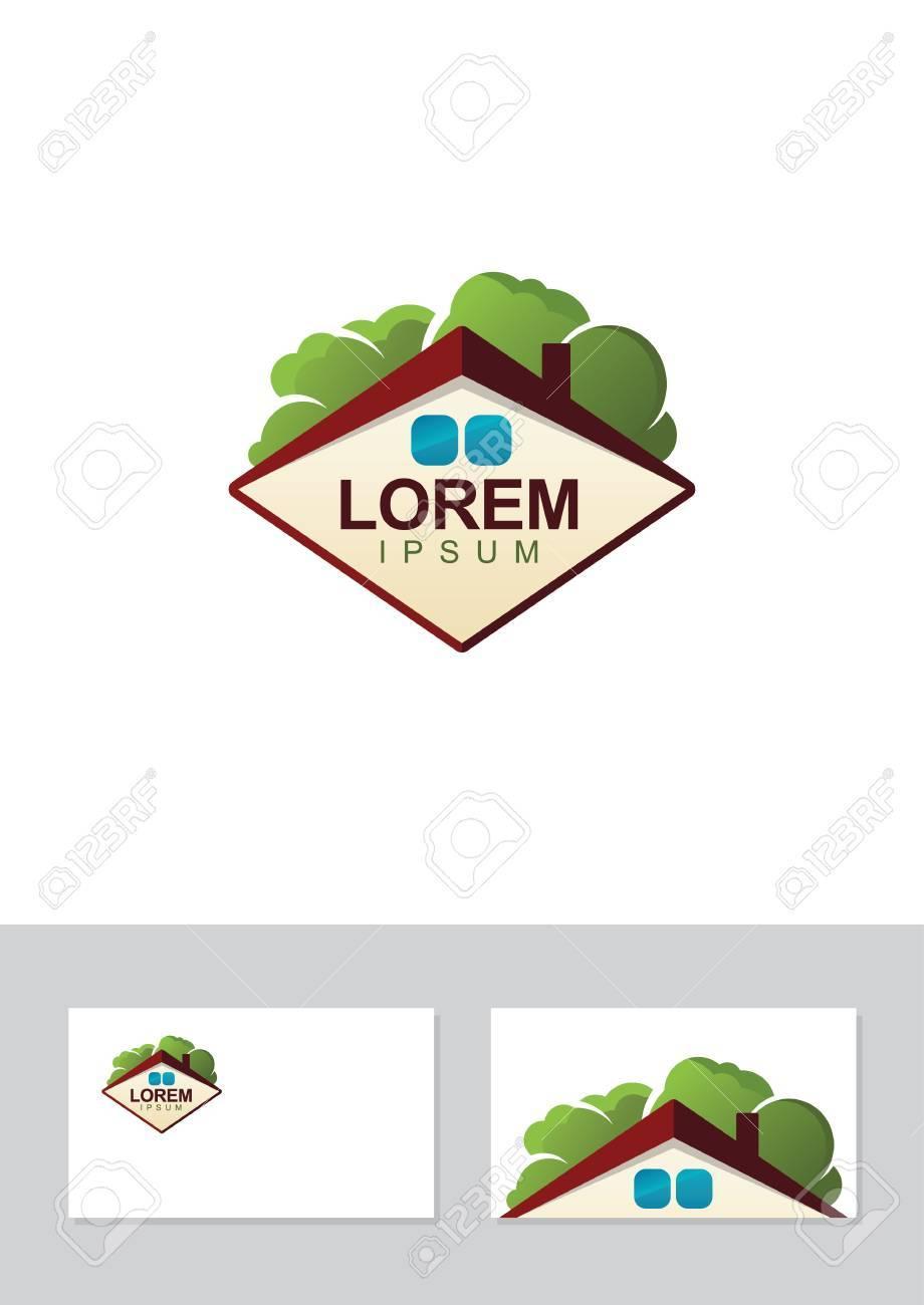 Vecteur Immobilier Logo Toit De La Maison Et Les Arbres Modle