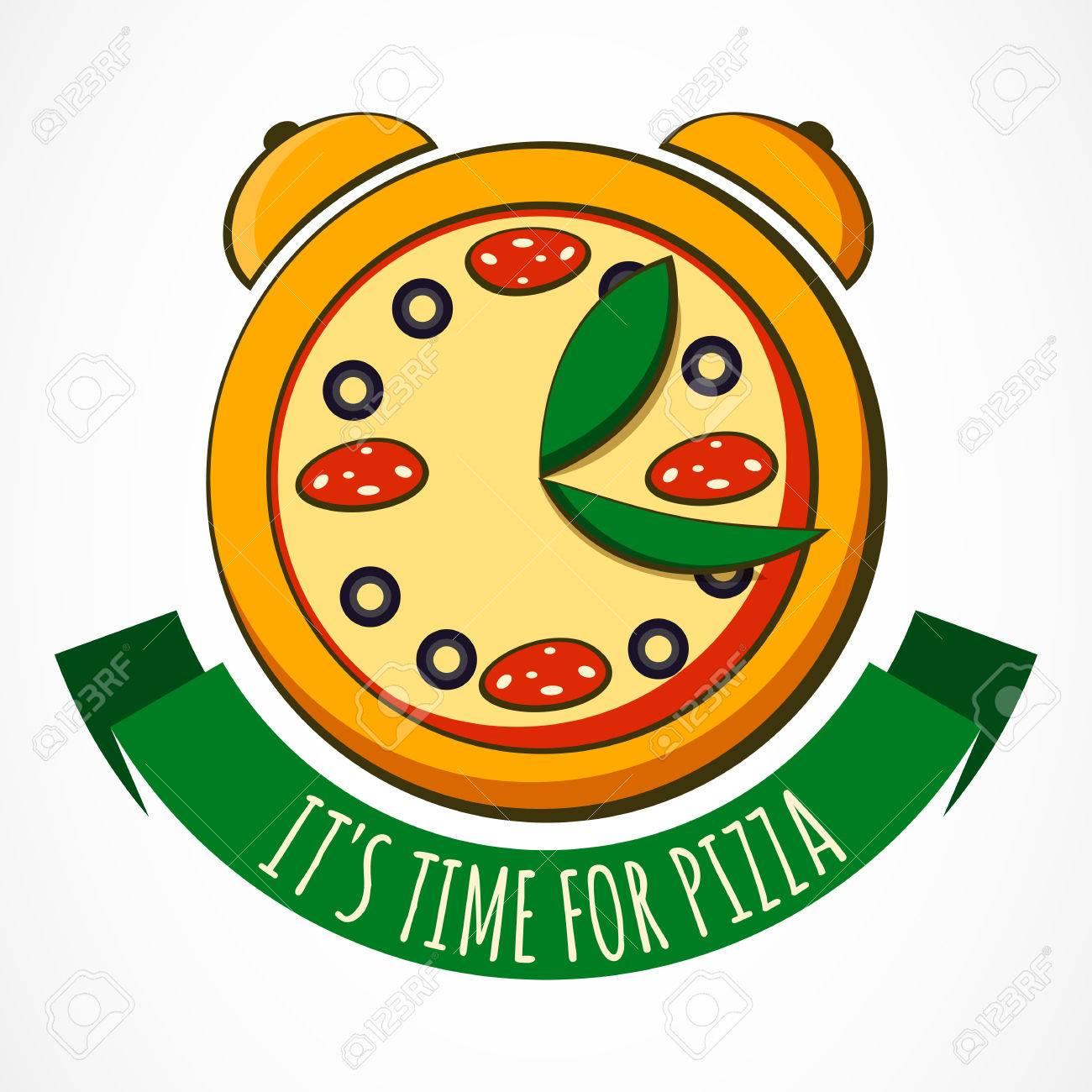 La Sabrosa DiseñoIlustración Del AlimentosRestaurante De RelojPlantilla Para PizzeríaEntrega Italiano Pizza Con VectorConcepto NwXZOP8n0k