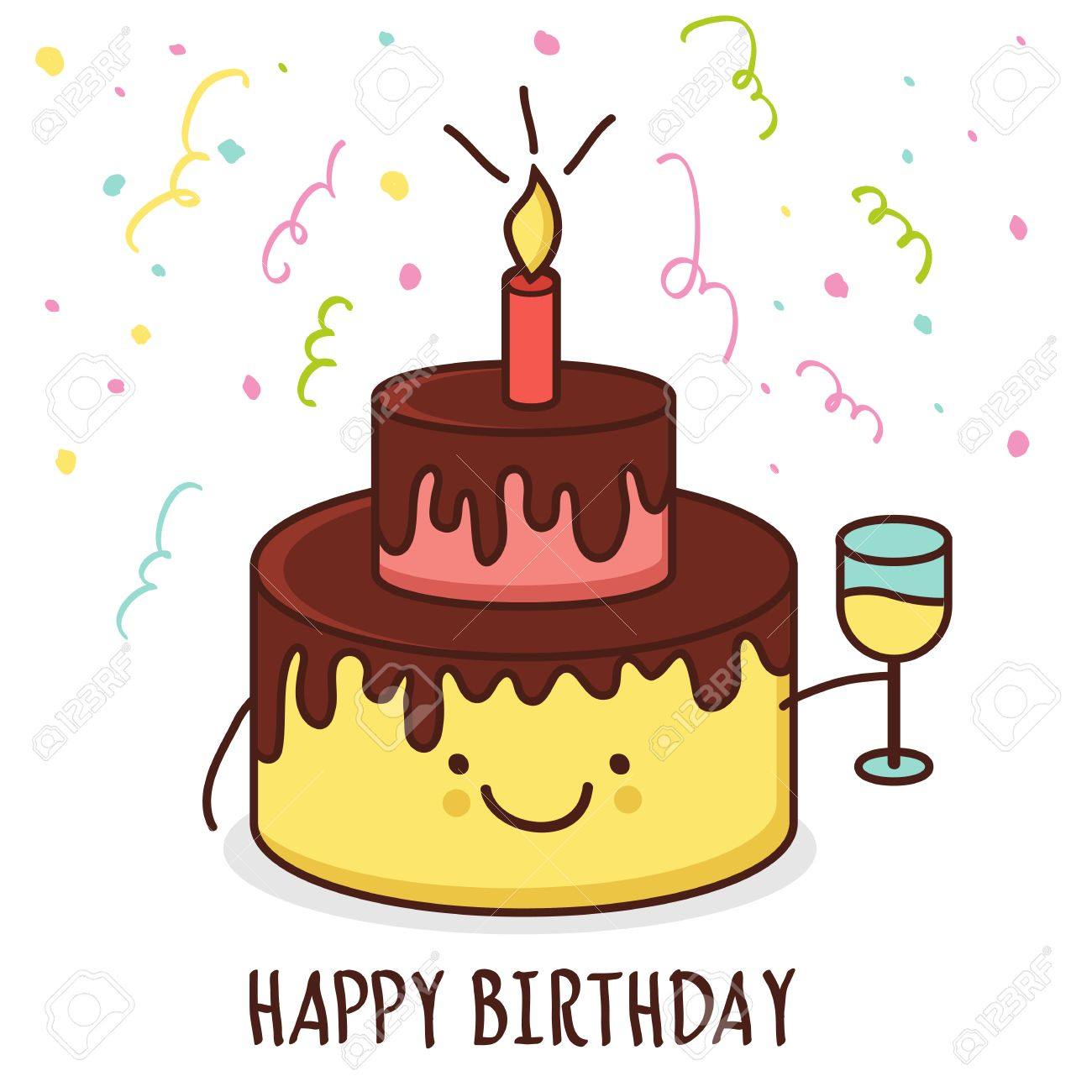Cute Cartoon Smiling Cake With Glass Of Champagne Vector Illustration Happy Birthday Greeting Card