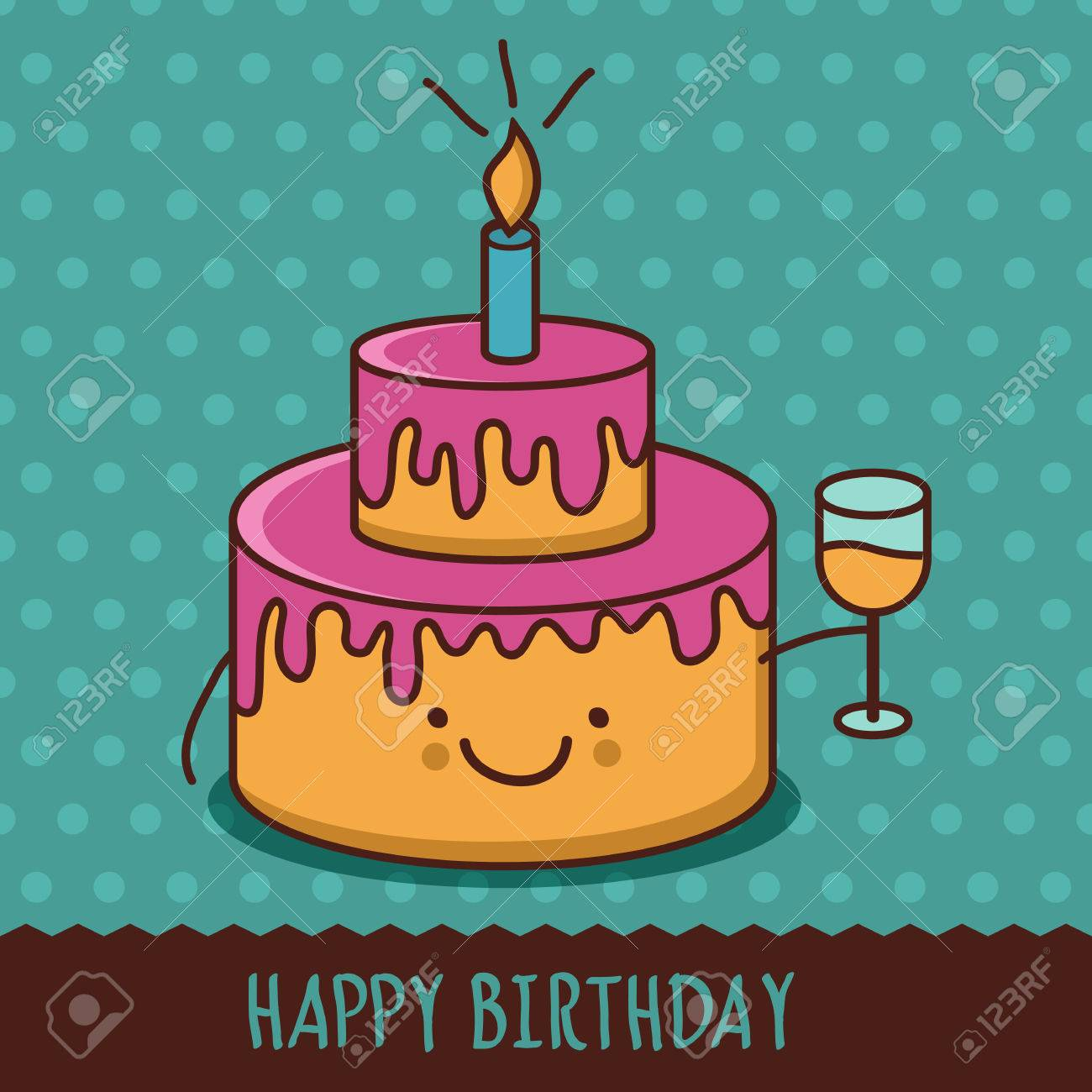 Cute Cartoon Smiling Cake With Glass Of Champagne Vector Illustration Royalty Free Cliparts Vectors And Stock Illustration Image 35173657