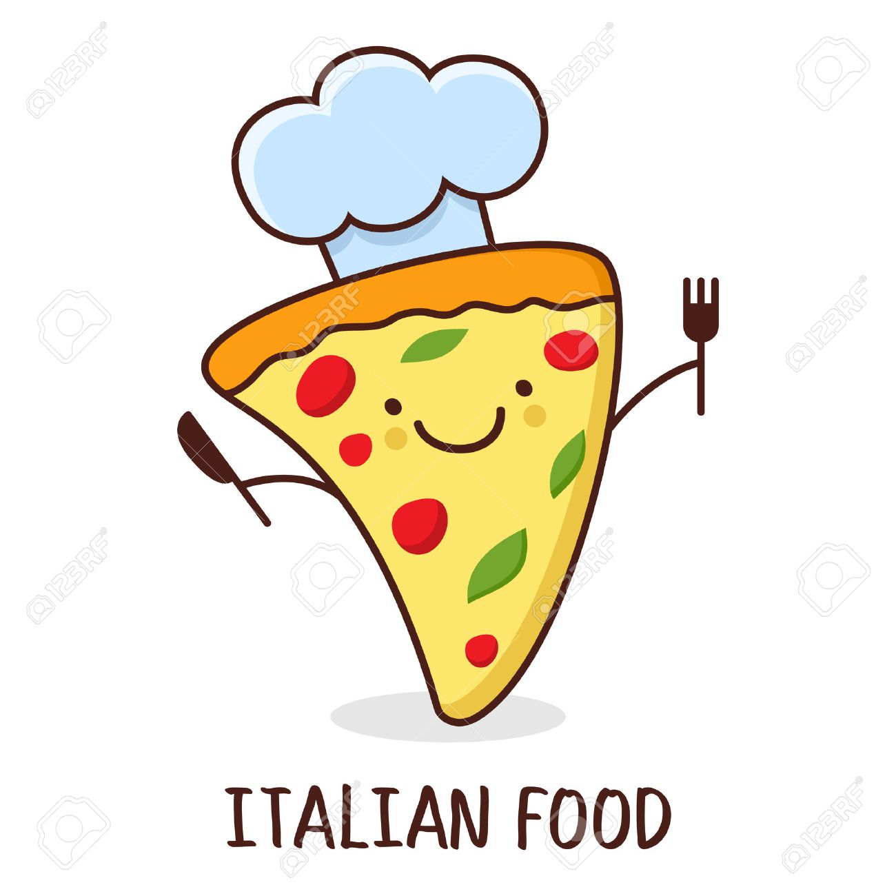 Pizza With Smiling Face - Vector Illustration. Royalty Free ...