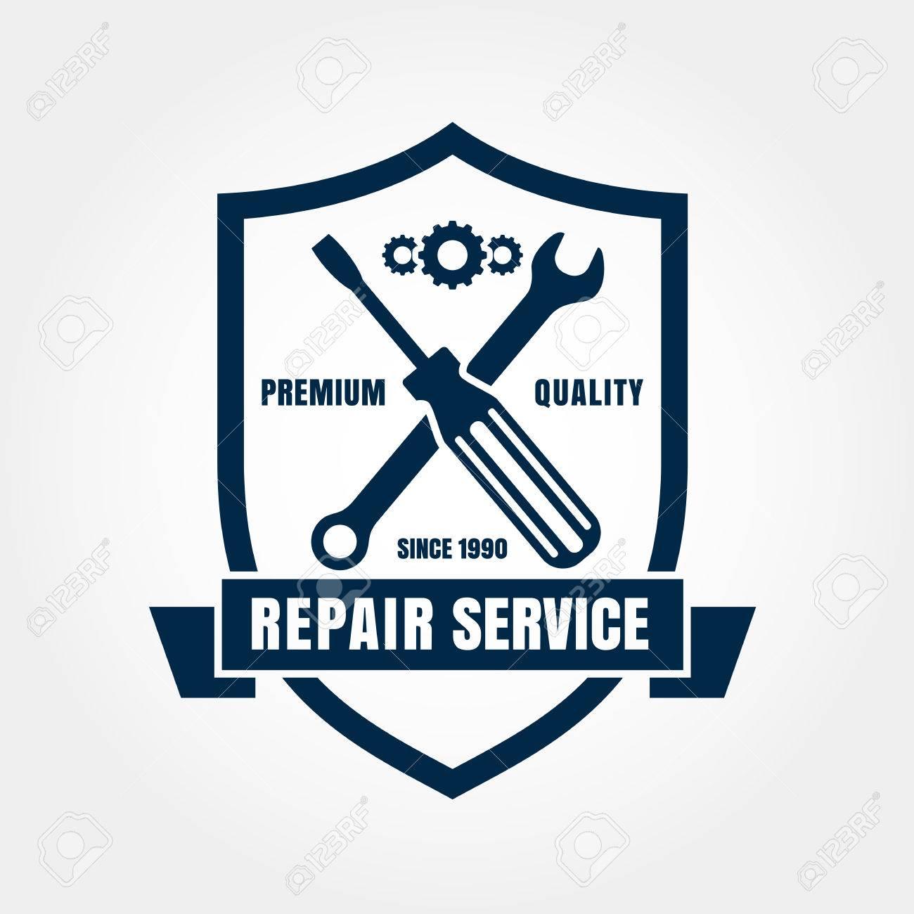 Design car emblem - Vector Vintage Style Car Repair Service Shield Label Vector Logo Design Template