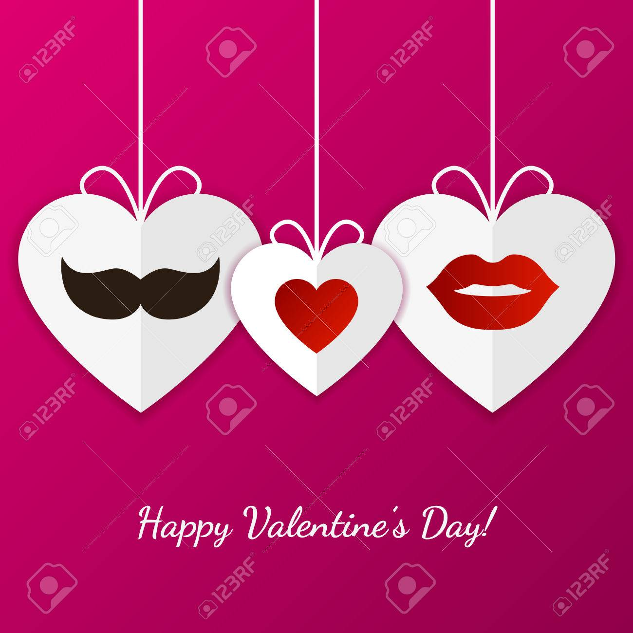 Tarjeta De Felicitación Feliz Día De San Valentín. Labios Mujer ...