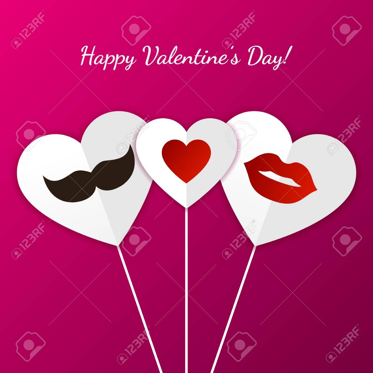 Tarjeta De Felicitación Feliz Día De San Valentín Labios Mujer Para Hombre Del Bigote Y El Corazón Símbolo Ilustración Del Vector Invitación De La