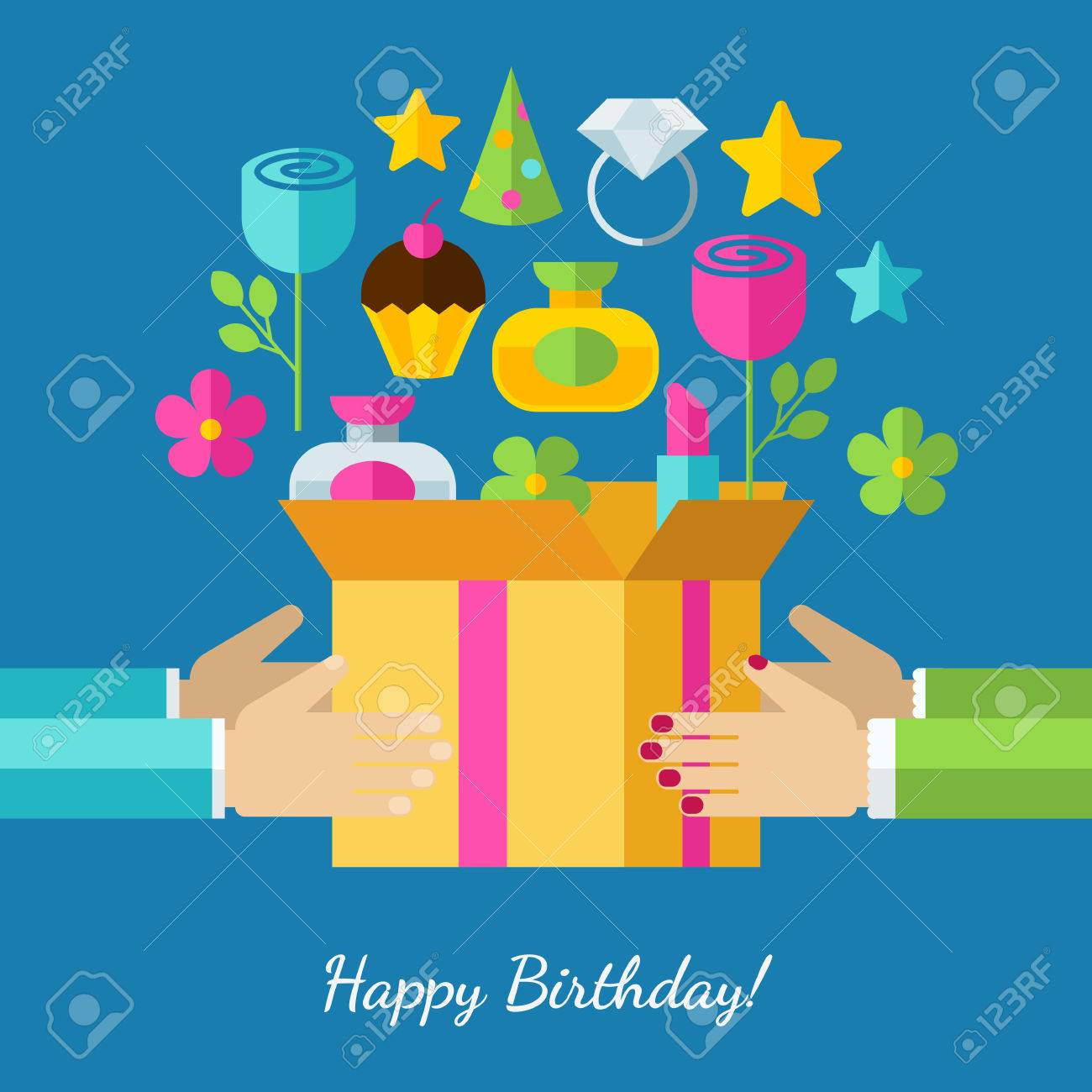 Happy birthday greeting card set of flat design concept icons happy birthday greeting card set of flat design concept icons for web and mobile phone bookmarktalkfo Image collections