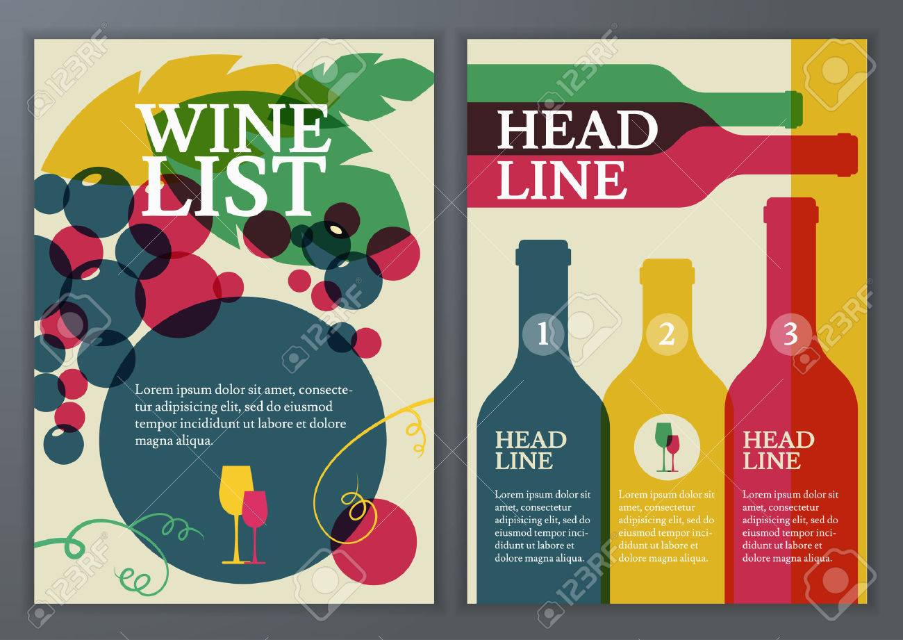 Set of vector template for brochure flyer poster wine list set of vector template for brochure flyer poster wine list menu maxwellsz