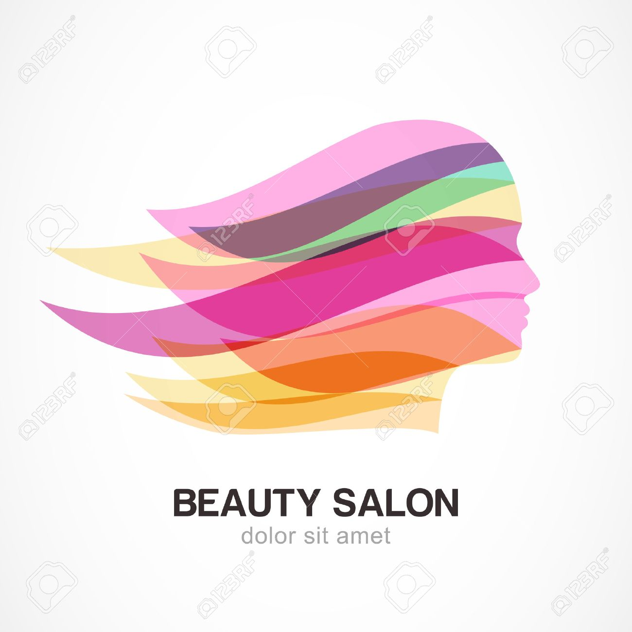 Beautiful girl silhouette with colorful streaming hair. Abstract design concept for beauty salon, massage, cosmetic and spa. Vector logo design template. - 36024695