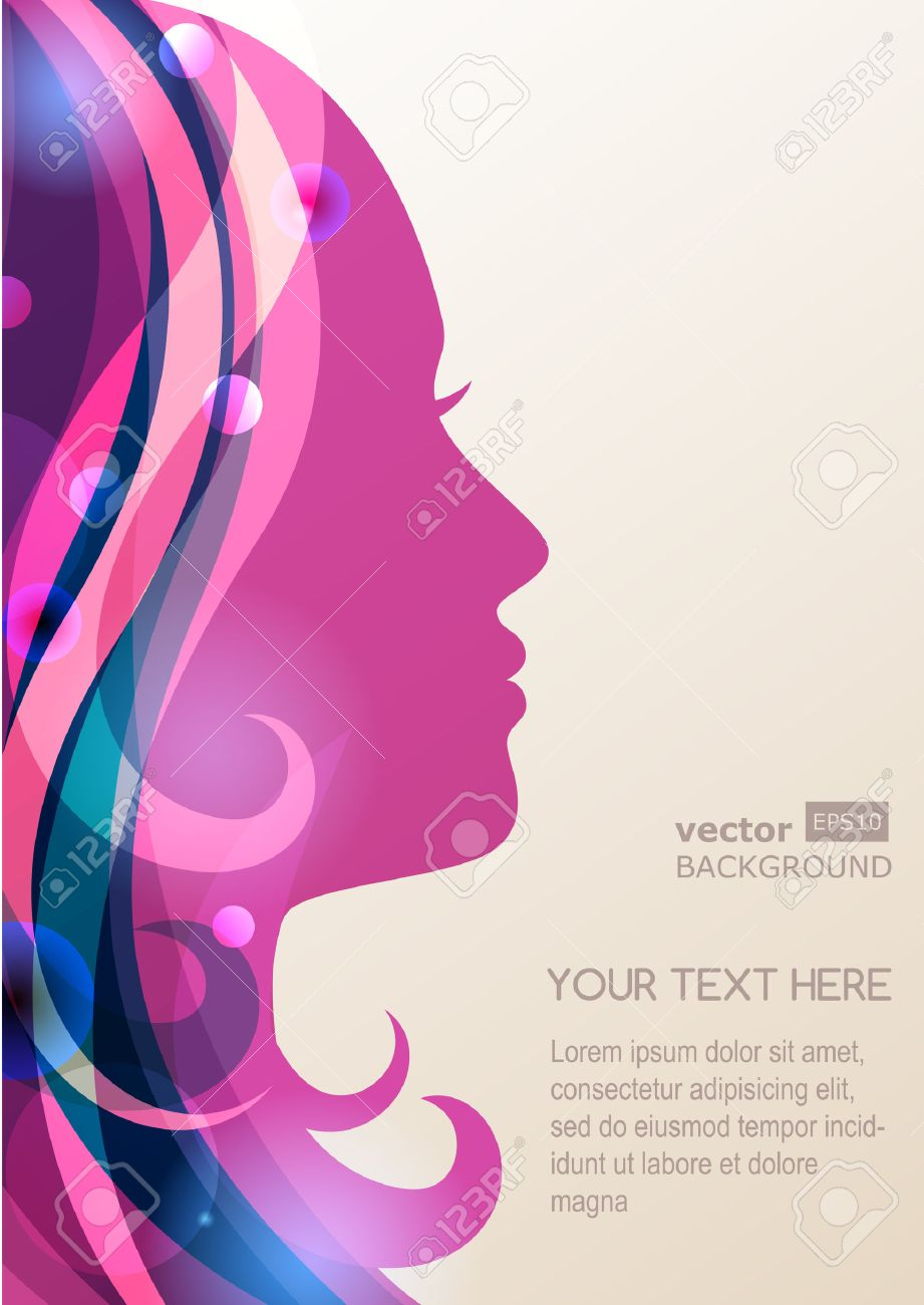 Beautiful Girl Silhouette With Colorful Hair Vector Background