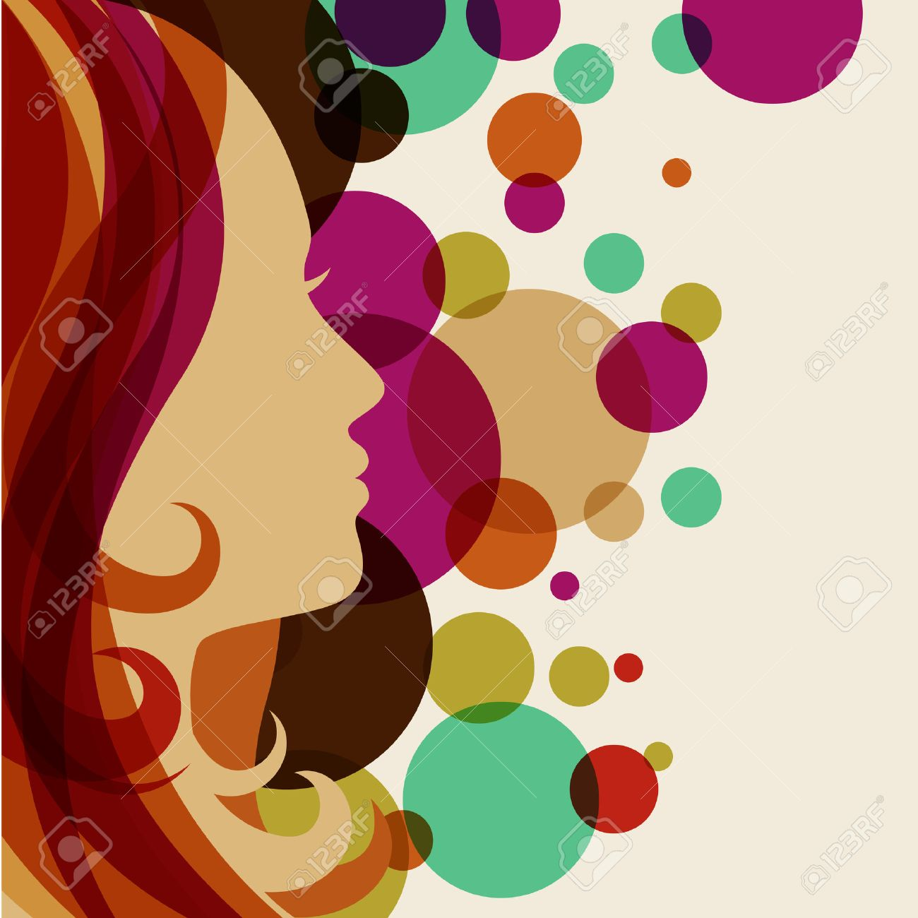 Beautiful Girl Silhouette With Red Hair Vector Background Abstract