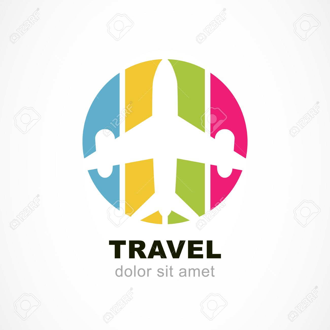 Flight Airplane Silhouette And Colorful Stripe Background Travel Around The World Concept Abstract Vector
