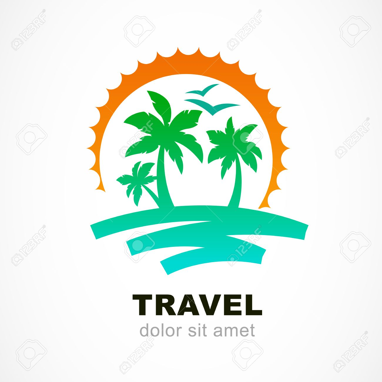 Vector Logo Design Template Abstract Sun And Palm Tree On Seaside Concept For Travel
