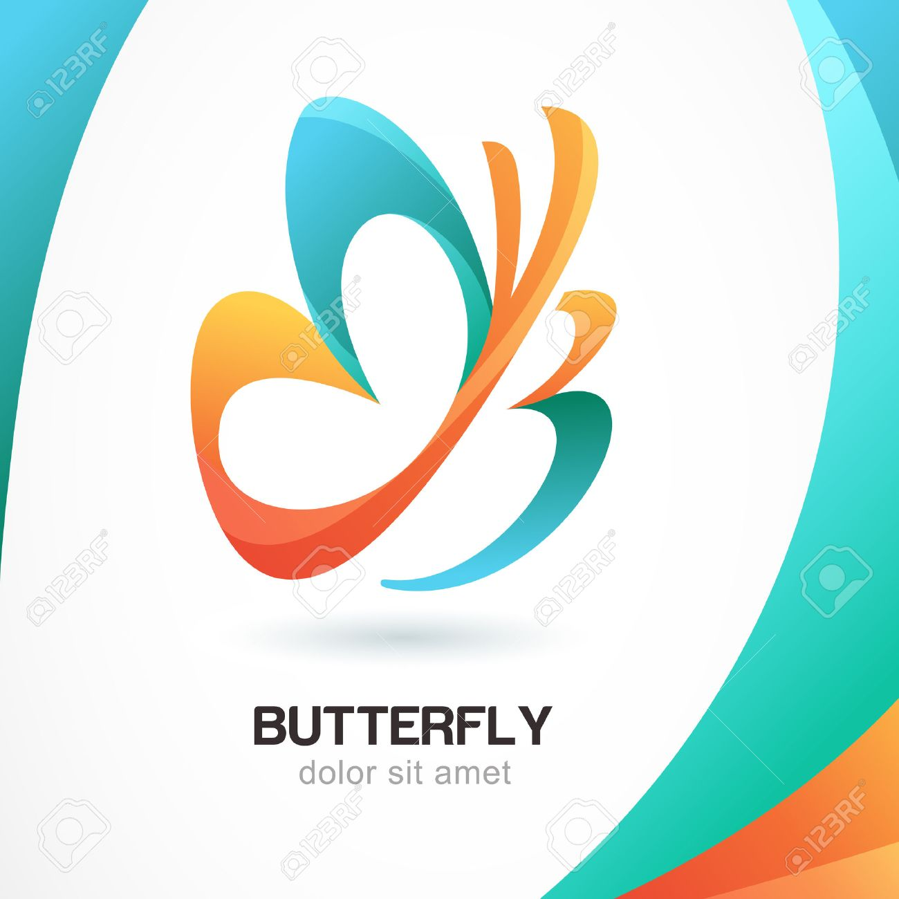 Abstract beautiful tropical butterfly symbol on colorful abstract beautiful tropical butterfly symbol on colorful background logo design template concept for beauty biocorpaavc Image collections