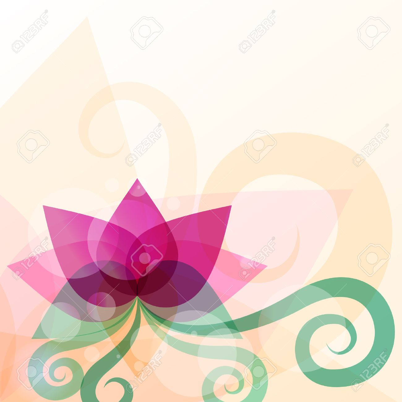Beautiful Lotus Flower Illustration Vector Abstract Background