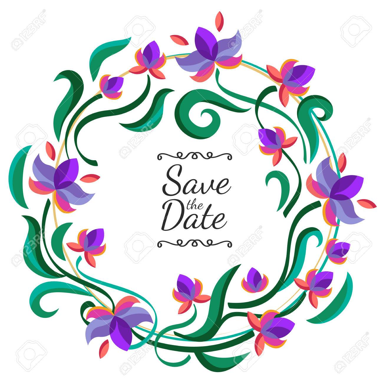 Vector floral frame with purple flowers wedding birthday or vector vector floral frame with purple flowers wedding birthday or save the date greeting card nature background izmirmasajfo