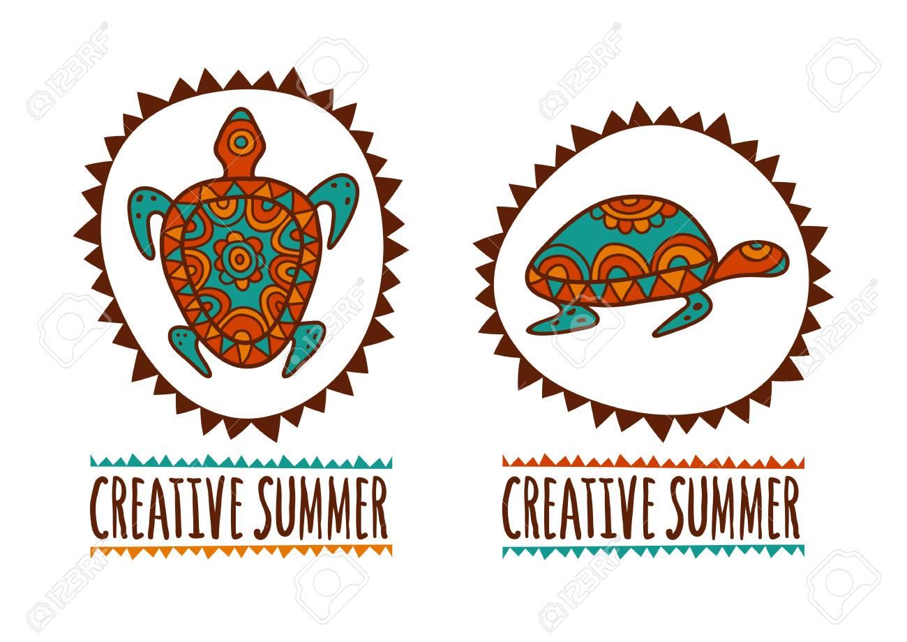 Hand drawn turtle tribal symbol vector illustration isolated hand drawn turtle tribal symbol vector illustration isolated on white background decorative multicolor background biocorpaavc