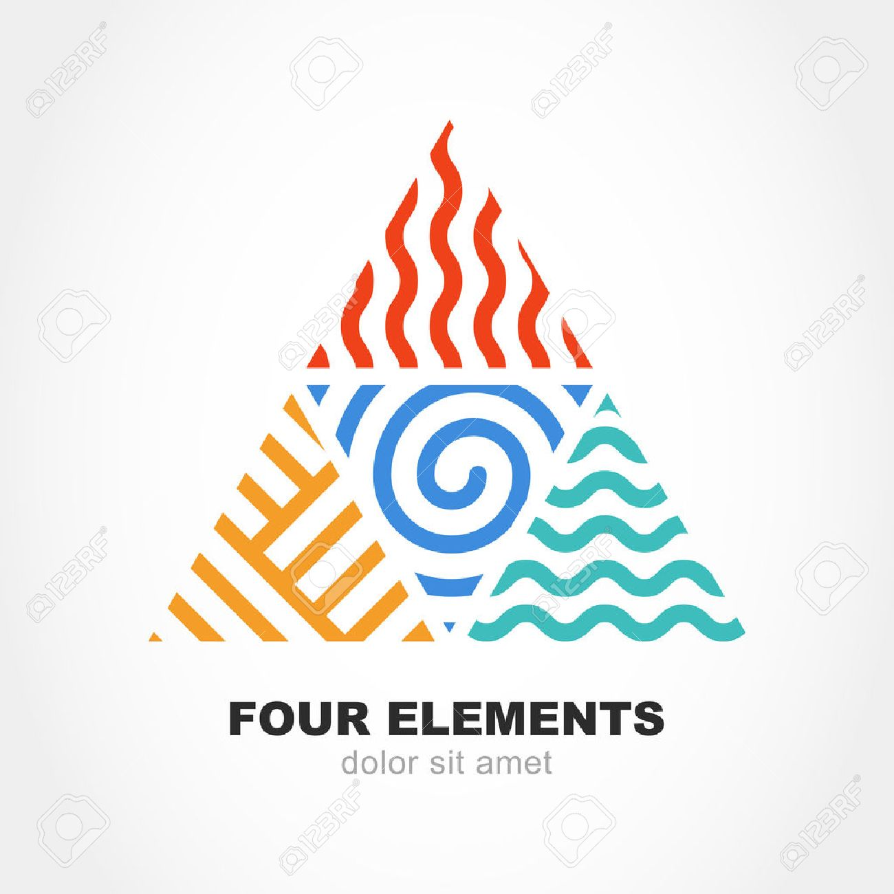four elements simple line symbol in pyramid shape vector logo