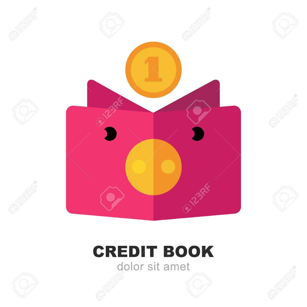 Hucha Resumen De Cerdo, El Libro Y La Moneda Caída. Vector Logo ...