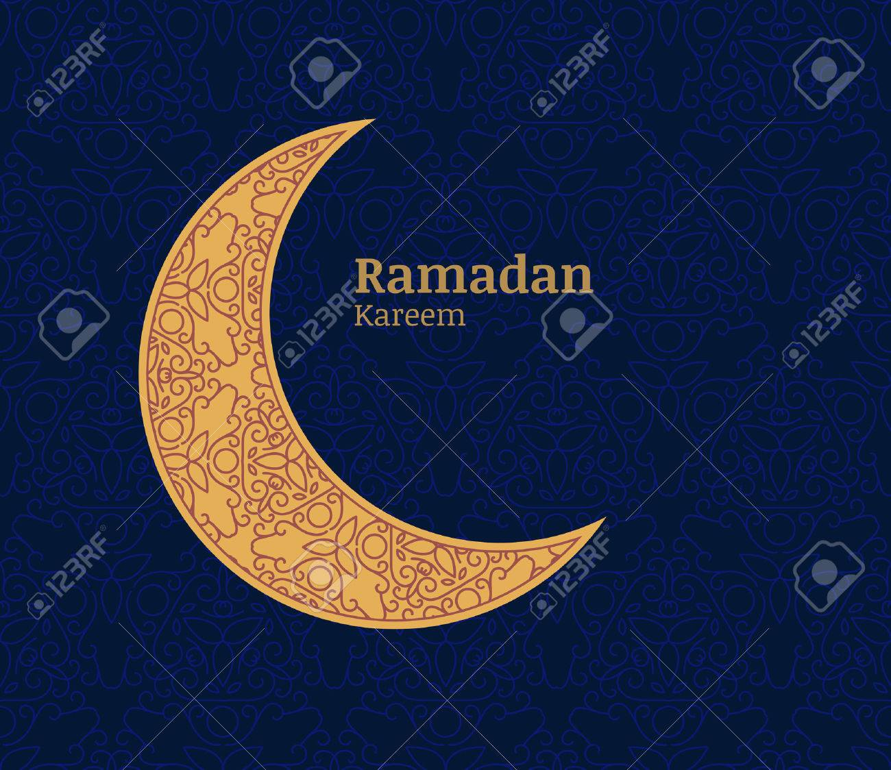 Ramadan Greeting Card With Golden Decorative Moon And Floral