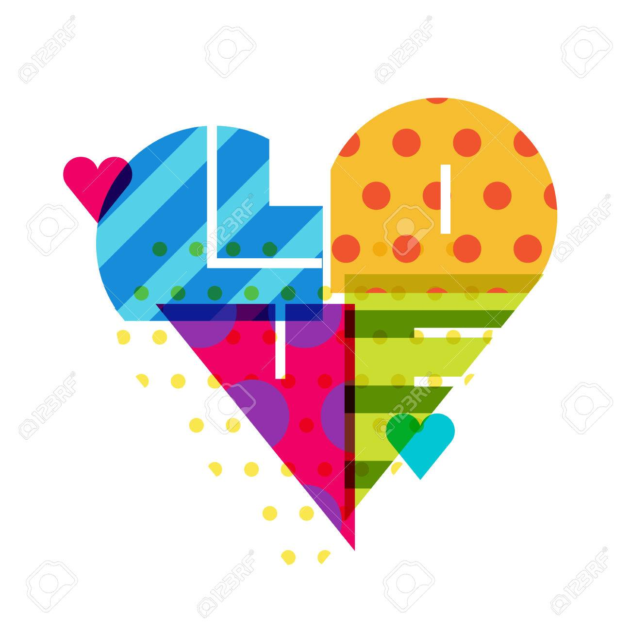 vector romantic background multicolor heart with pattern word
