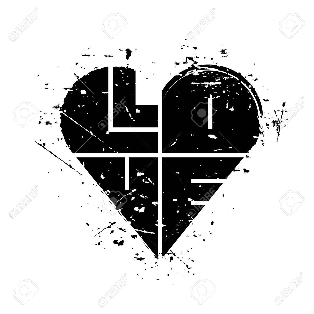 Vector watercolor vector black heart with word love isolated on white background abstract grunge texture background happy valentines day card