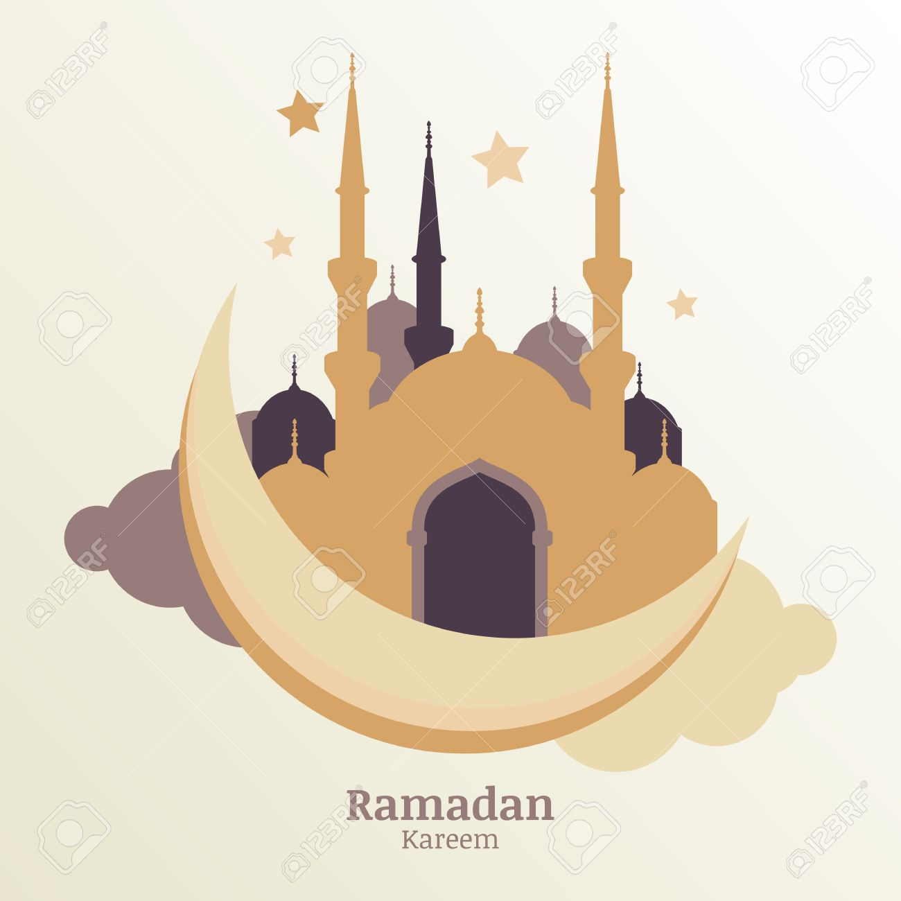 Ramadan Kareem Vector Greeting Card Silhouette Of Golden Mosque