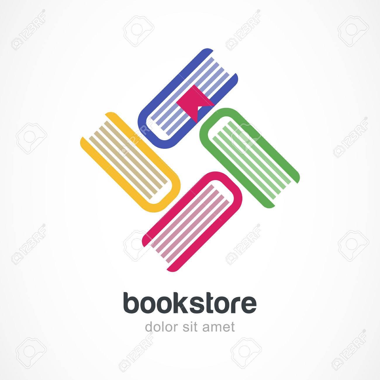 Vector Logo Plantilla De Diseño. Libros Multicolores Icono Plana ...