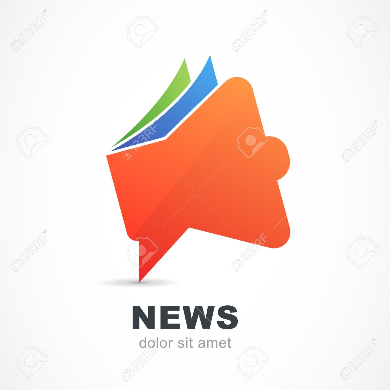 Abstract Red Megaphone Icon. Vector Logo Design Template. News ...