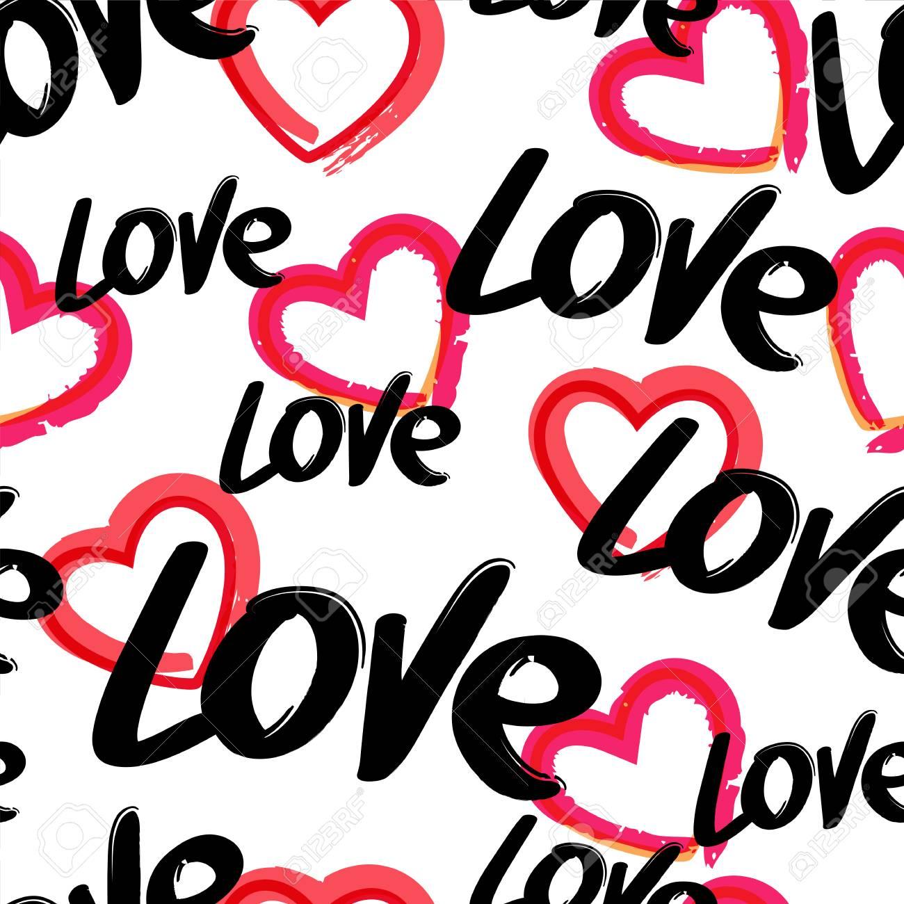 Vektor Nahtlose Muster Mit Handgezeichneten Wort Liebe Und Roten ...