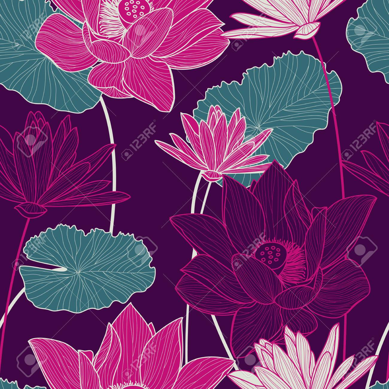 Vector Sin Patrón, Con Hermosa Flor De Loto De Color Rosa Y Hojas ...
