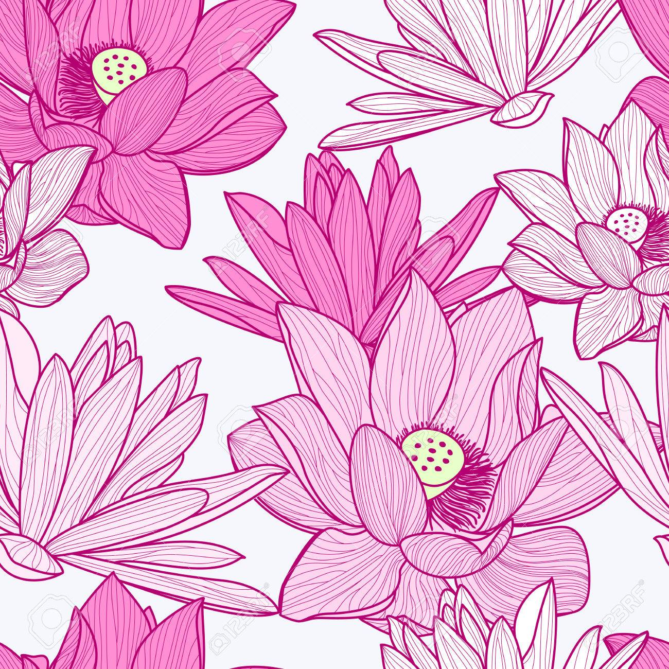 Vector Seamless Pattern With Beautiful Pink Lotus Flower Floral
