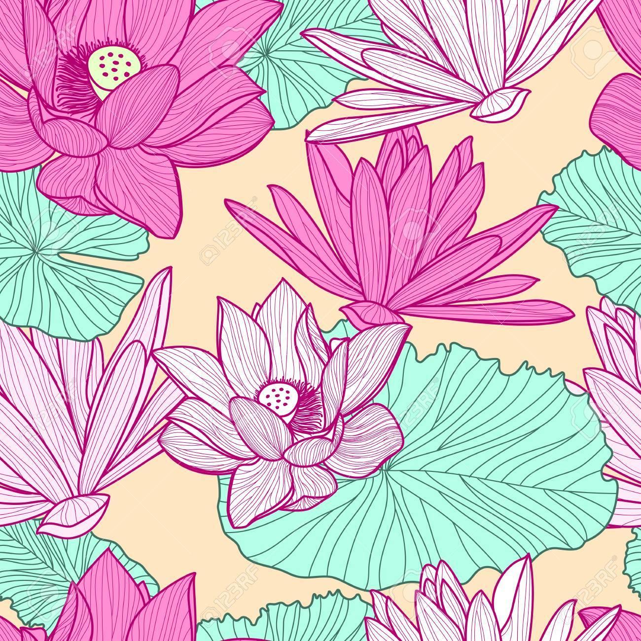 Vector Sin Patrón Con Hermosa Flor De Loto De Color Rosa Y Hojas