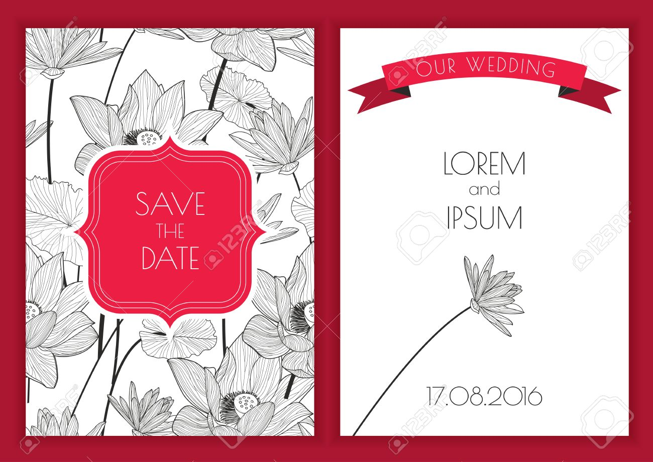 Set Of Vector Floral Save The Date Greeting Card. Hand Drawn ...
