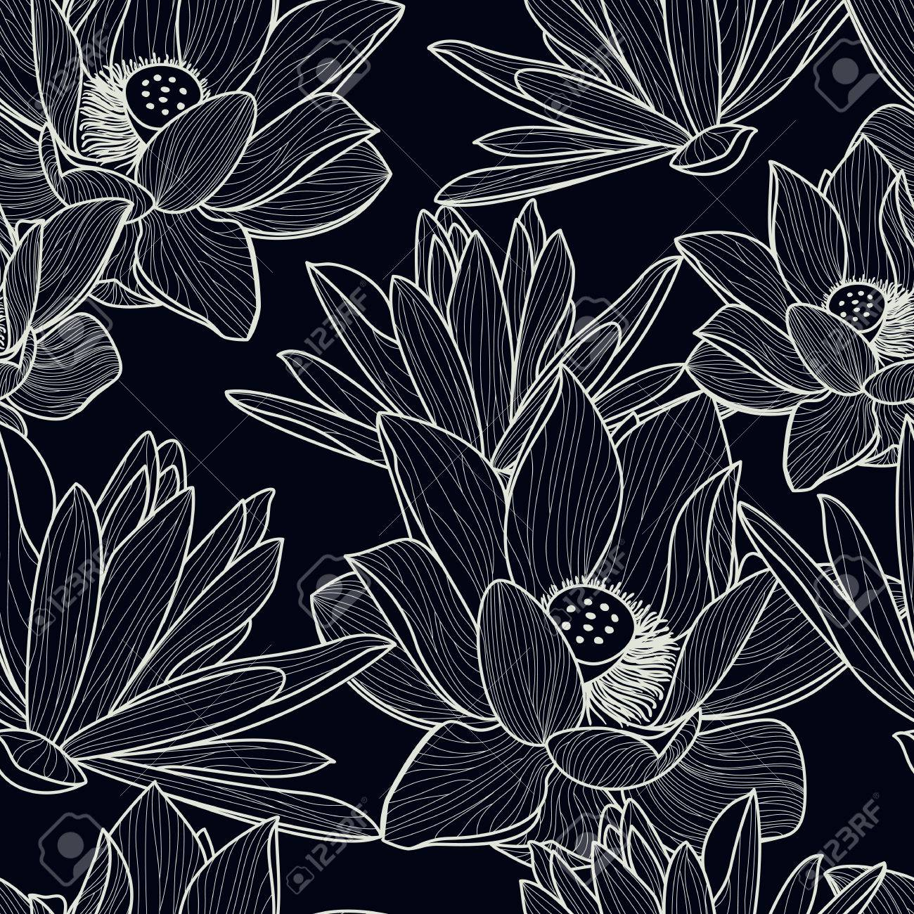 Vector Seamless Pattern With Hand Drawn Beautiful Lotus Flower