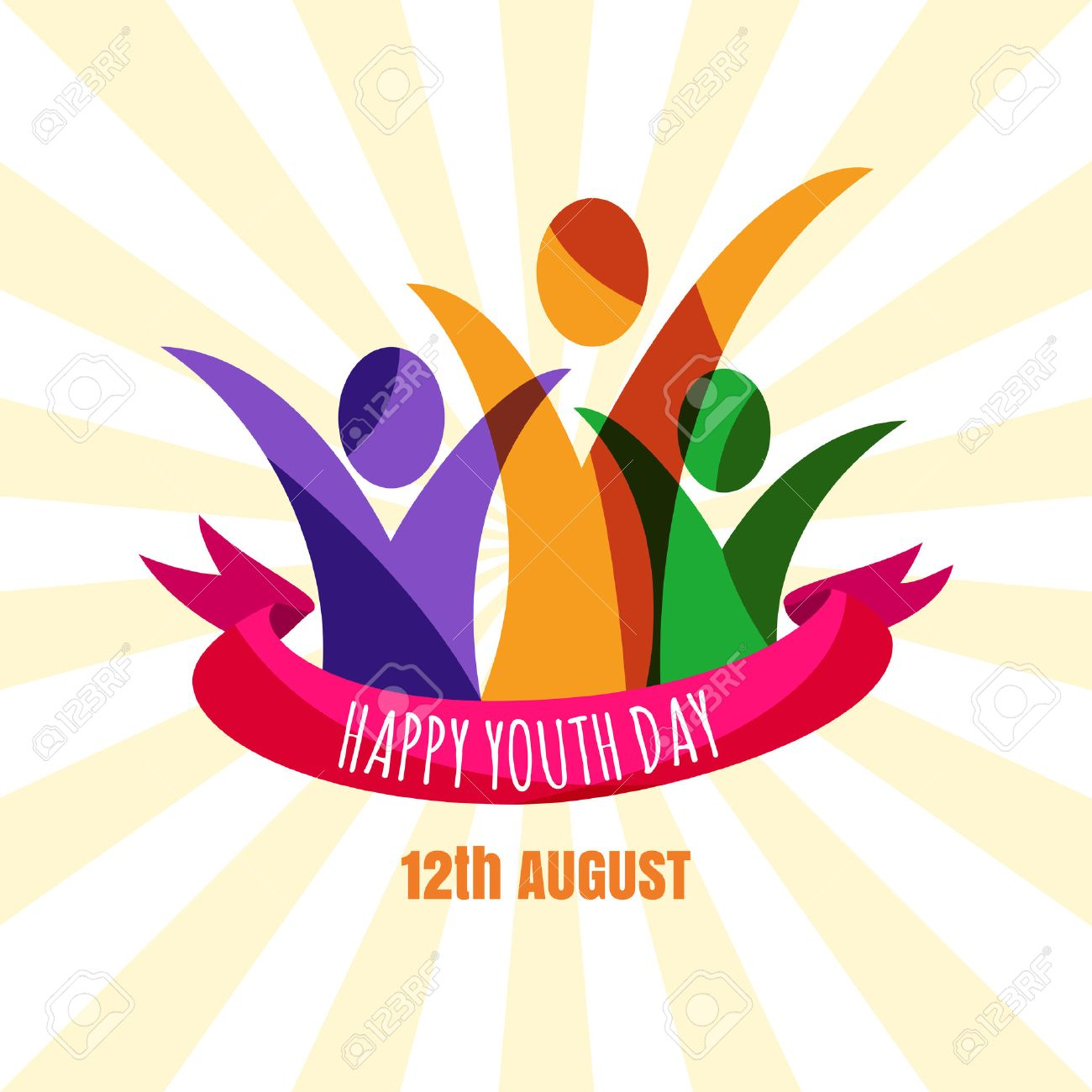 Poster design for youth - Multicolor Abstract Young Happy People With Ribbon Design Concept For International Youth Day Celebrations