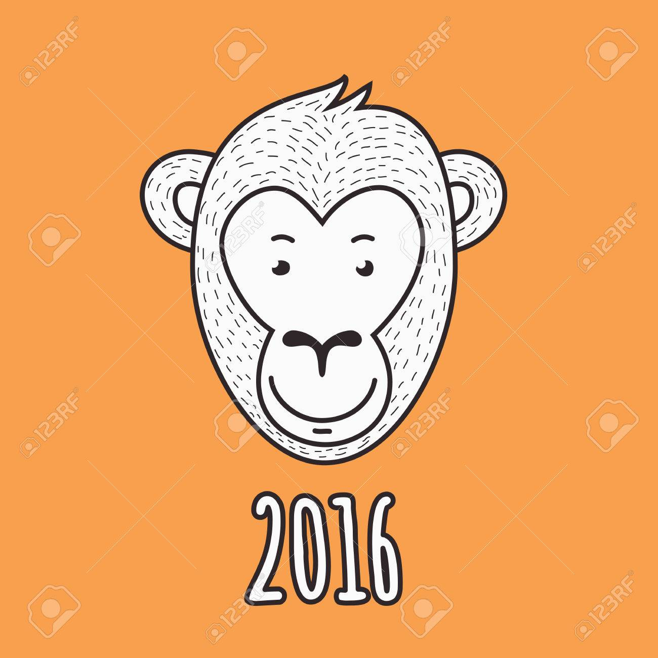 vector hand drawn smiling monkey face 2016 happy new year