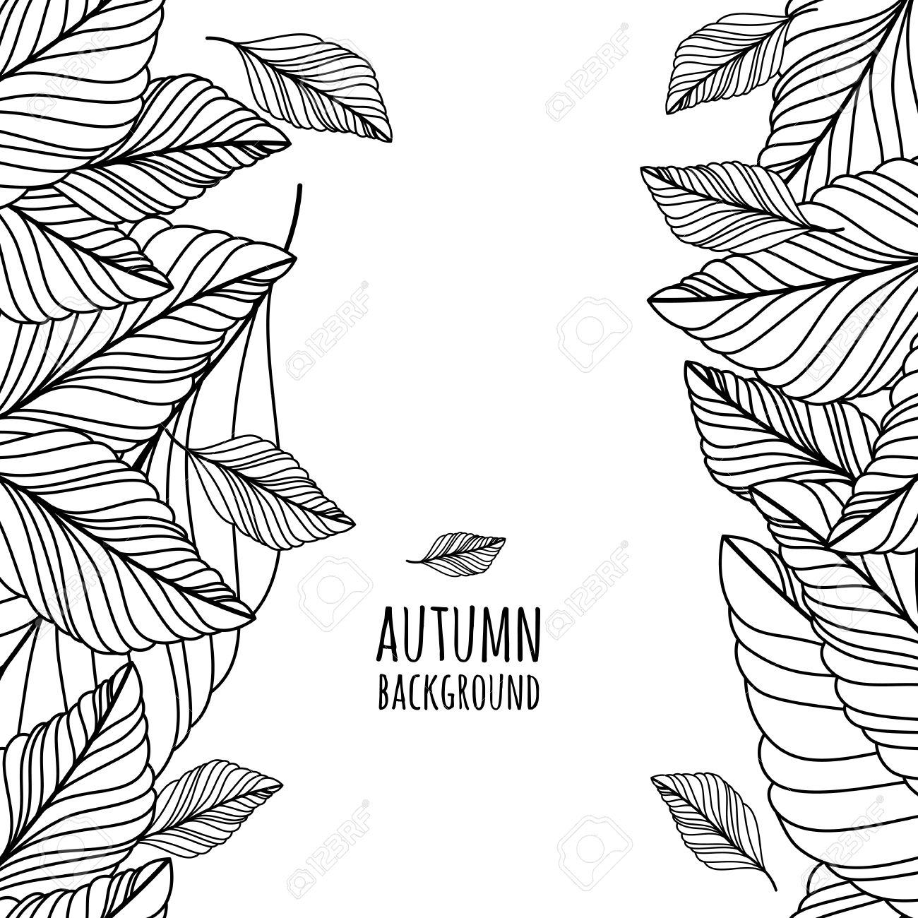 Hand Drawn Doodle Leaves Seamless Background. Abstract Autumn ...