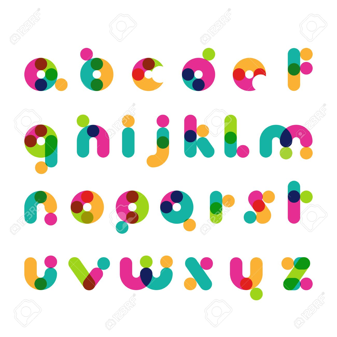 coloridos smbolos de fuentes modernas redondas alfabeto decorativo amrica vector logo plantilla de diseo