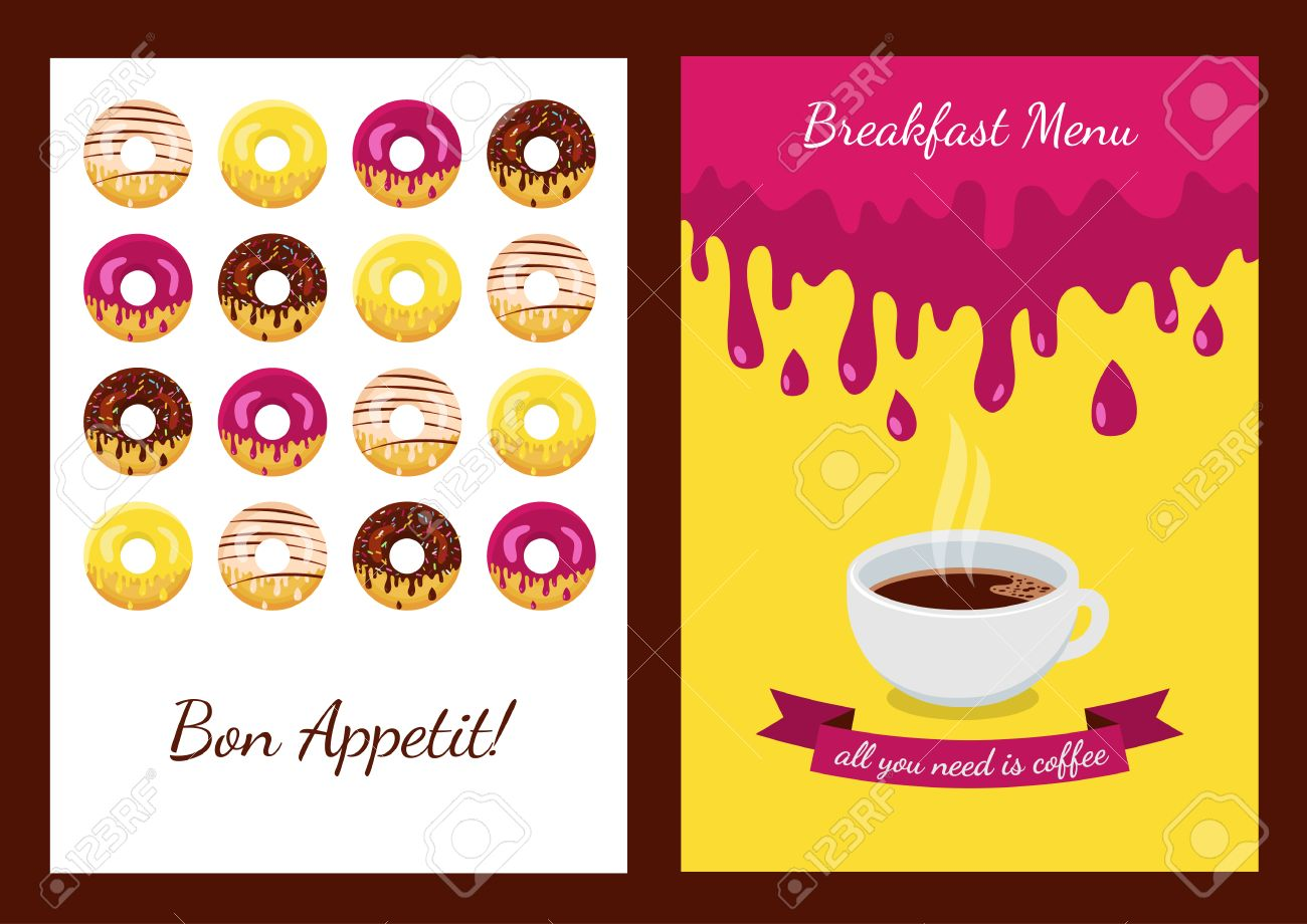 set of vector background with donuts abstract concept for cafe
