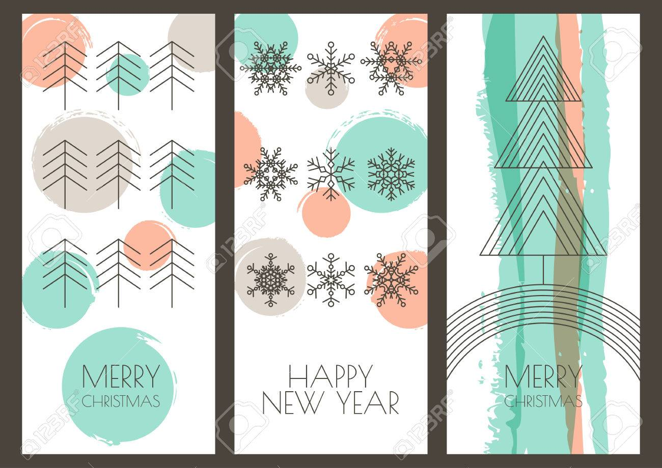 Set Of Vector Hand Drawn Christmas, New Year Greeting Cards ...