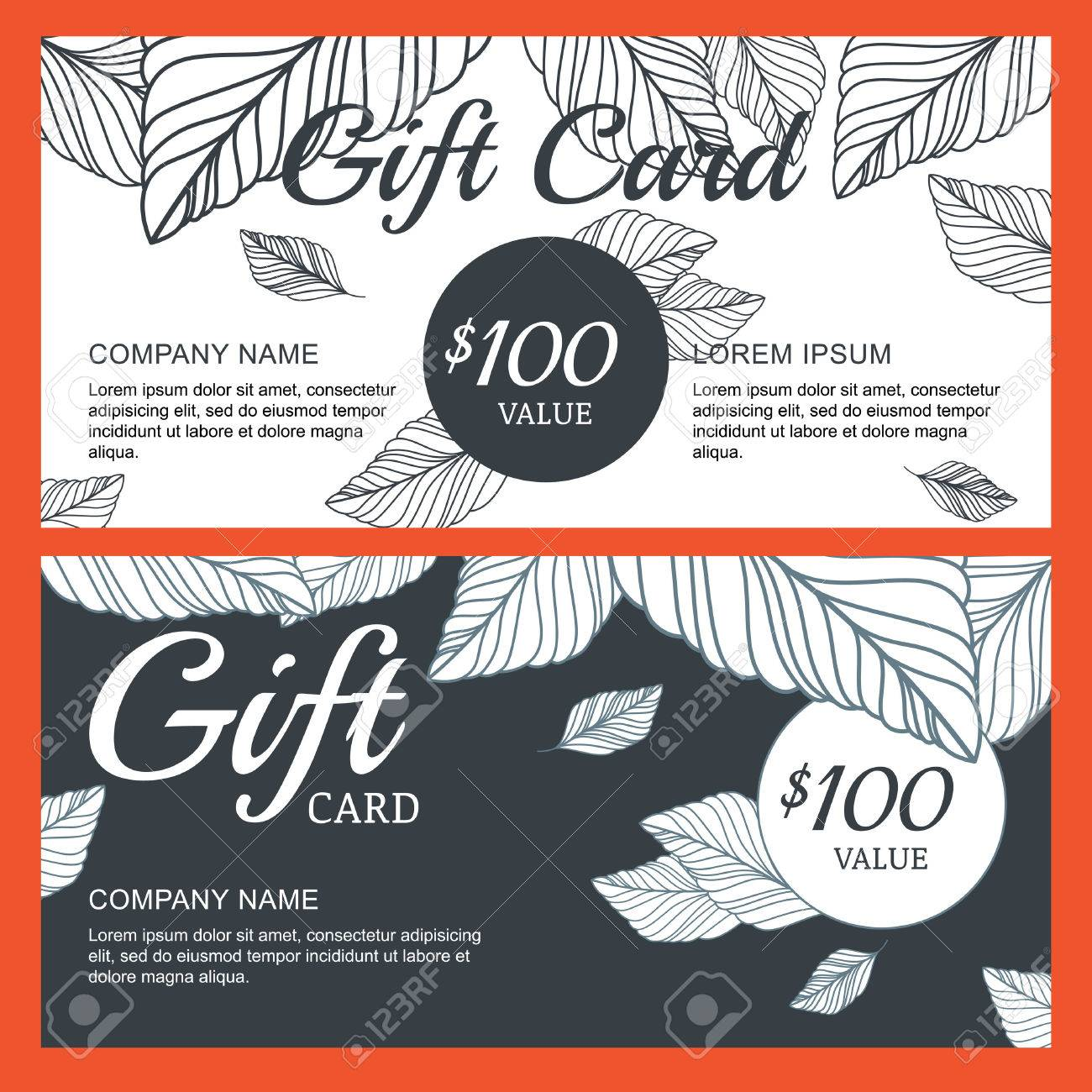 Vector Gift Voucher Card Template With Hand Drawn Autumn Leaves – Voucher Card Template