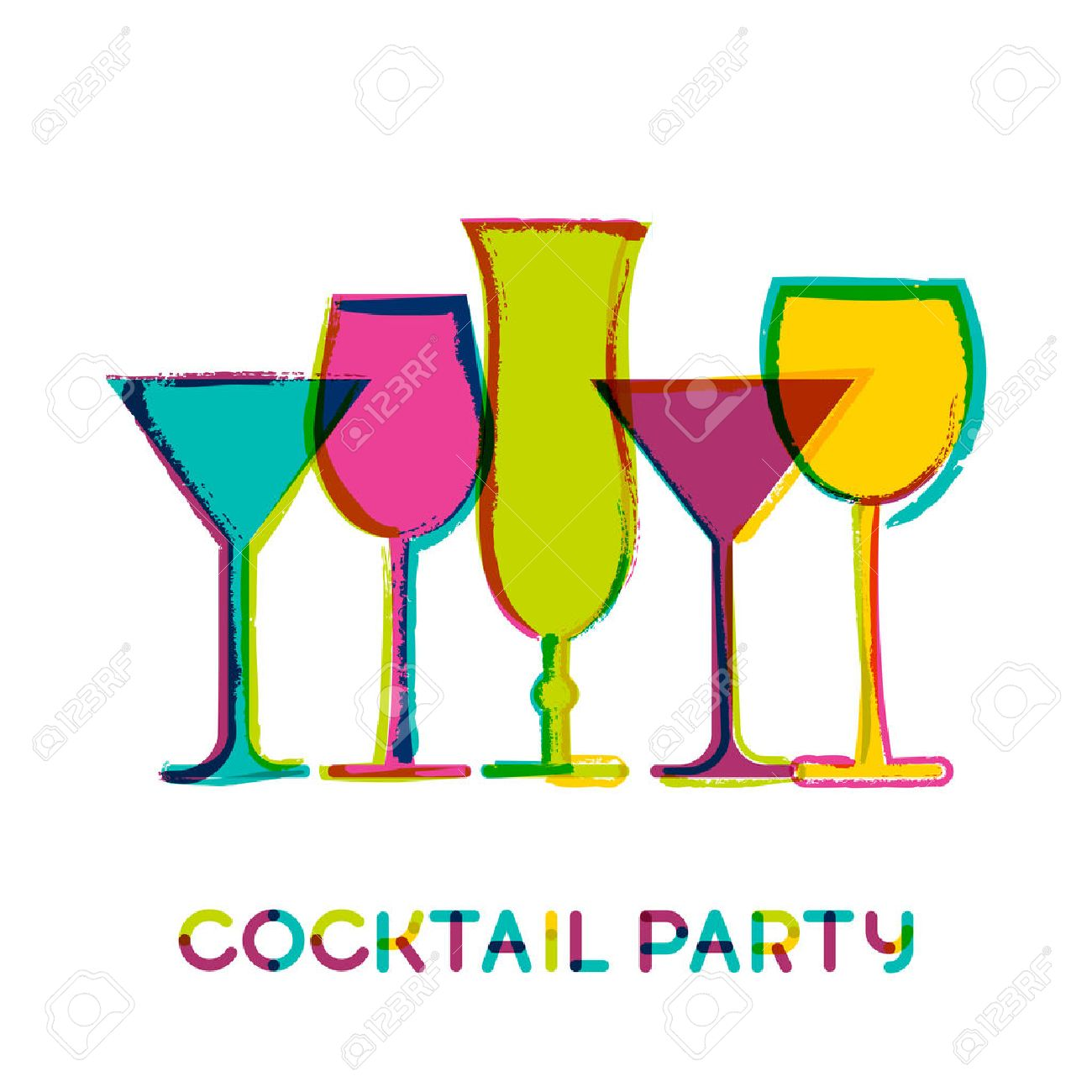 abstract colorful cocktail glasses, vector watercolor background