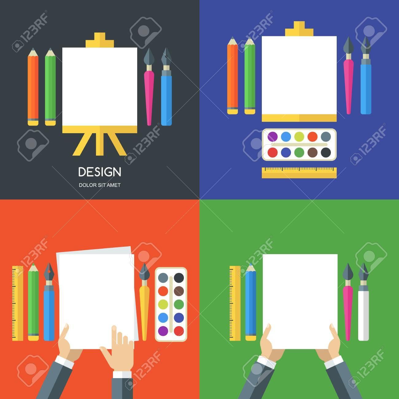 Set Von Vektor Flach Illustrationen Von Werkzeugen, Malutensilien Für Design,  Malerei, Kreativität