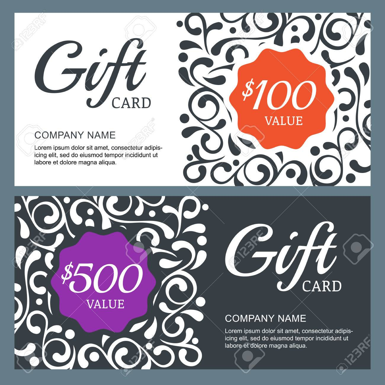 Gift Voucher Card, Vector Template With Floral Background ...