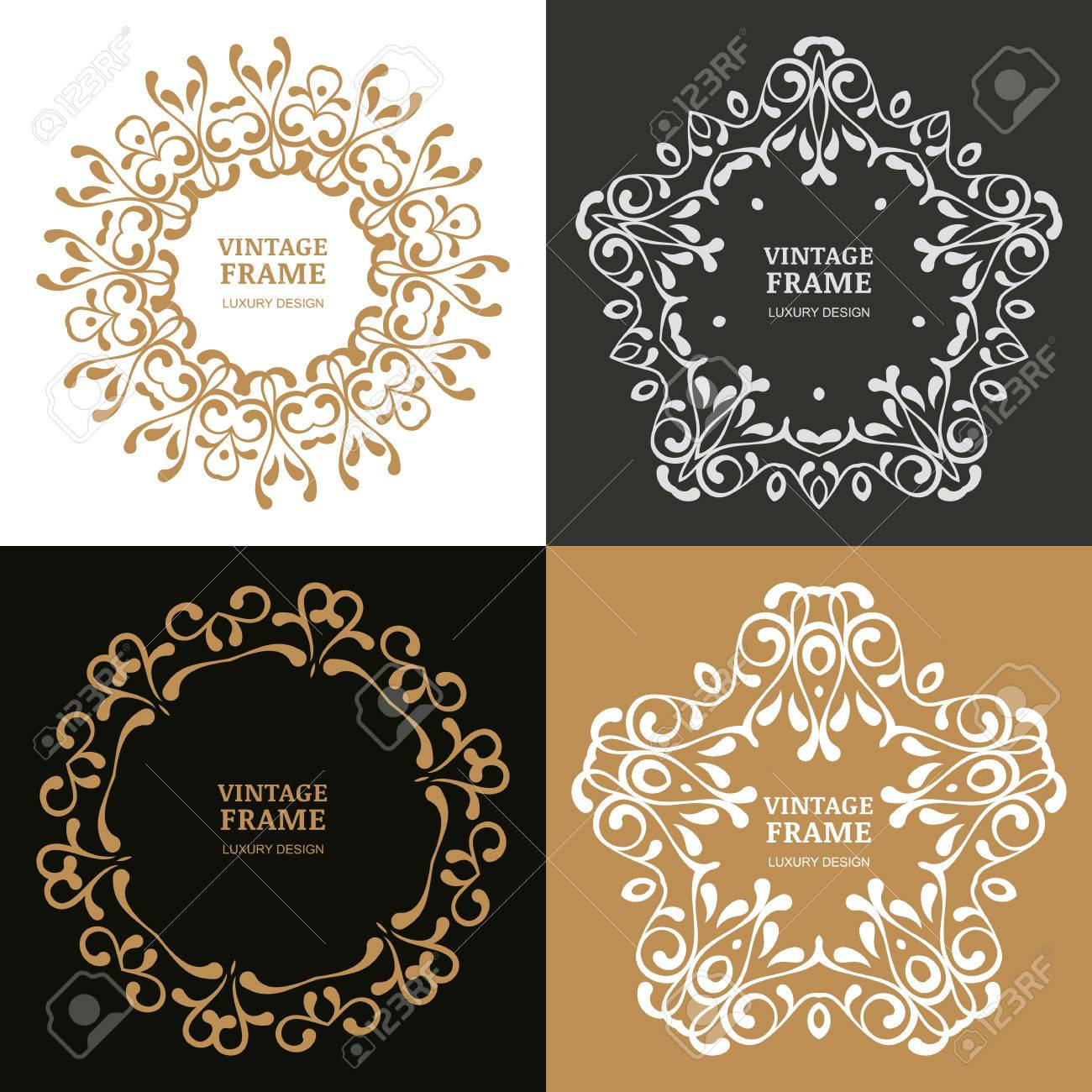 Set Of Vector Vintage Flourish Frames. Decorative Background. Design Concept  For Boutique, Hotel