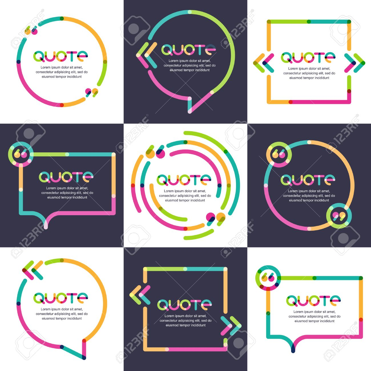 Stock illustration 3d red text quot yes quot stock illustration royalty - Vector Set Of Quote Forms Template Multicolor Trendy Background Blank Colorful Speech Bubbles