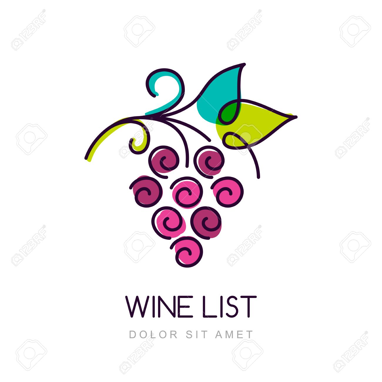 vector colorful grape vine design template concept for organic