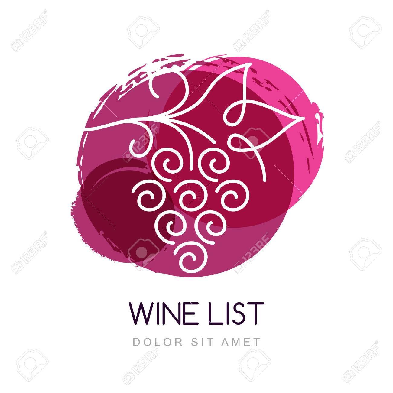 Vector illustration of linear grape vine in watercolor circle