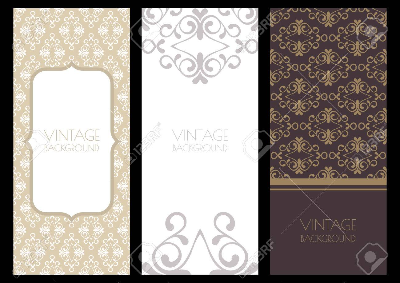 Set Of Flourish Backgrounds And Seamless Pattern. Vintage ...